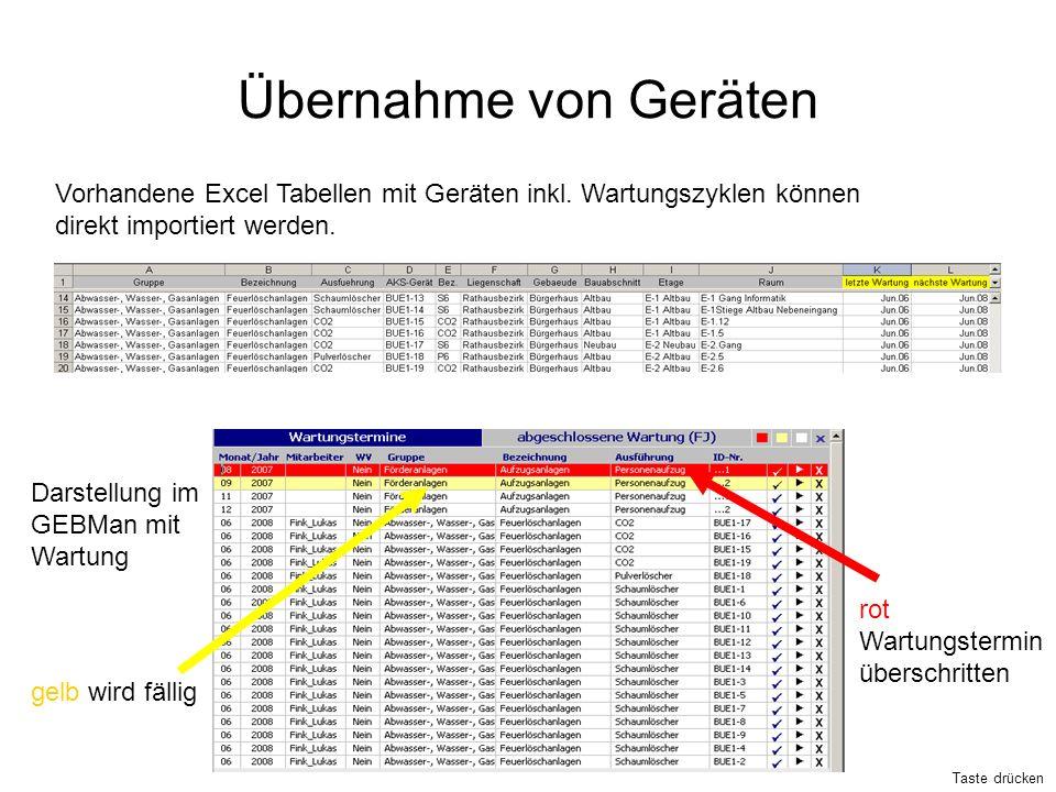 Übernahme von Geräten Vorhandene Excel Tabellen mit Geräten inkl. Wartungszyklen können. direkt importiert werden.