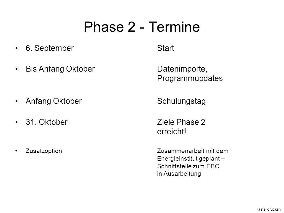 Phase 2 - Termine 6. September Start