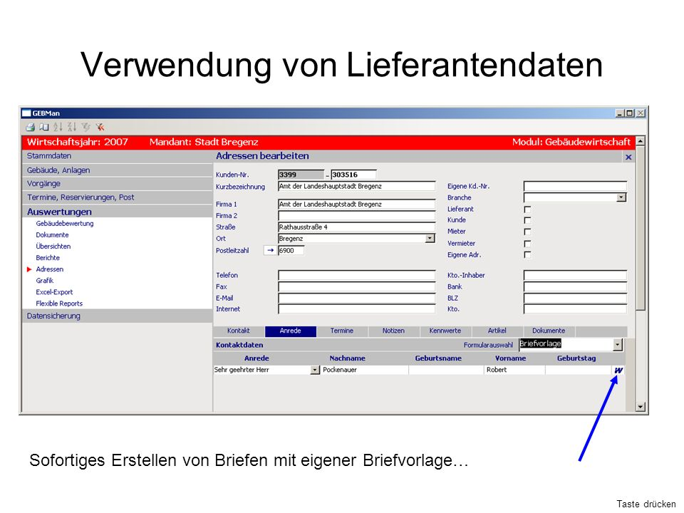 Verwendung von Lieferantendaten