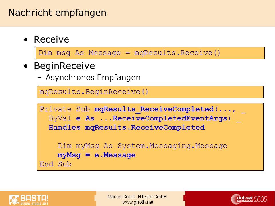 Nachricht empfangen Receive BeginReceive