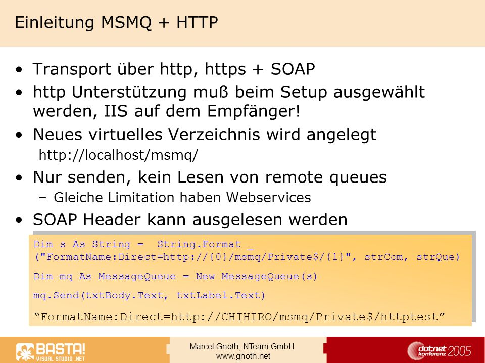 Transport über http, https + SOAP