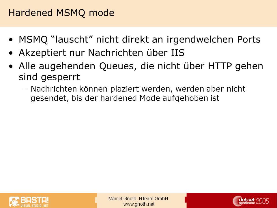 MSMQ lauscht nicht direkt an irgendwelchen Ports