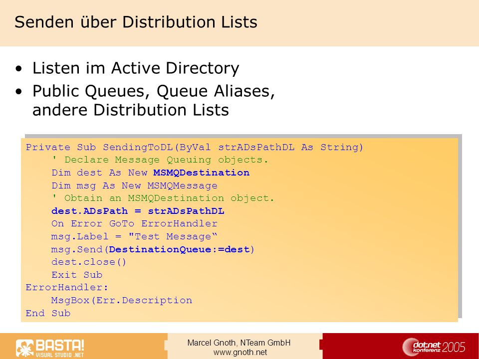 Senden über Distribution Lists