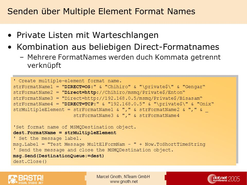 Senden über Multiple Element Format Names