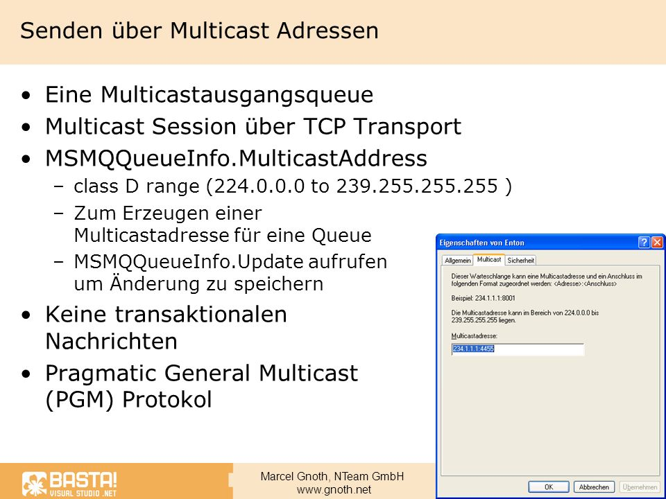 Senden über Multicast Adressen