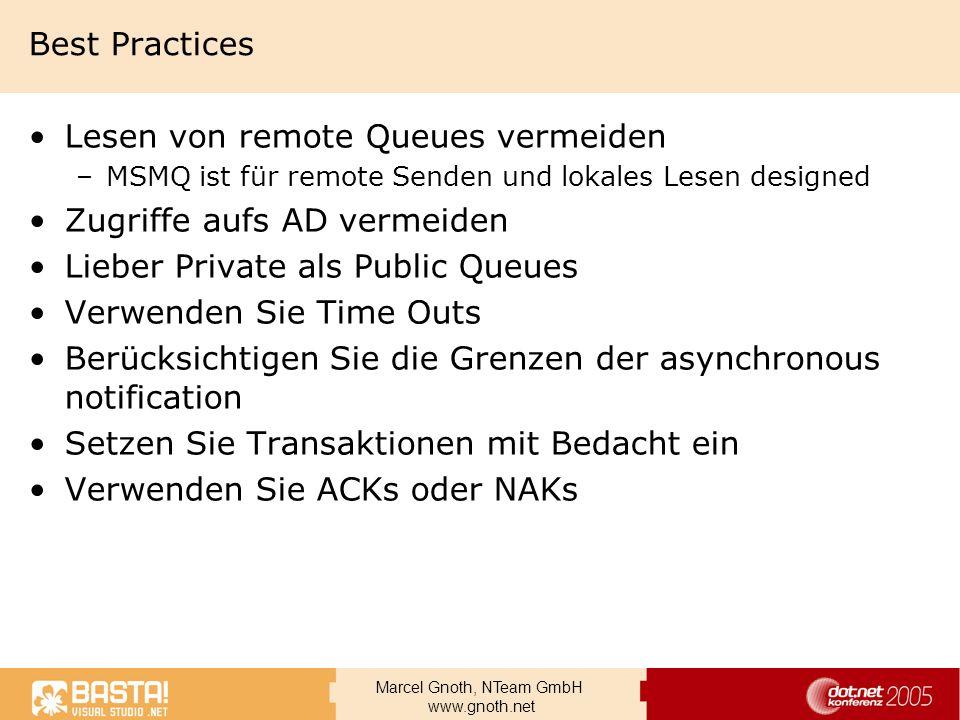 Lesen von remote Queues vermeiden Zugriffe aufs AD vermeiden