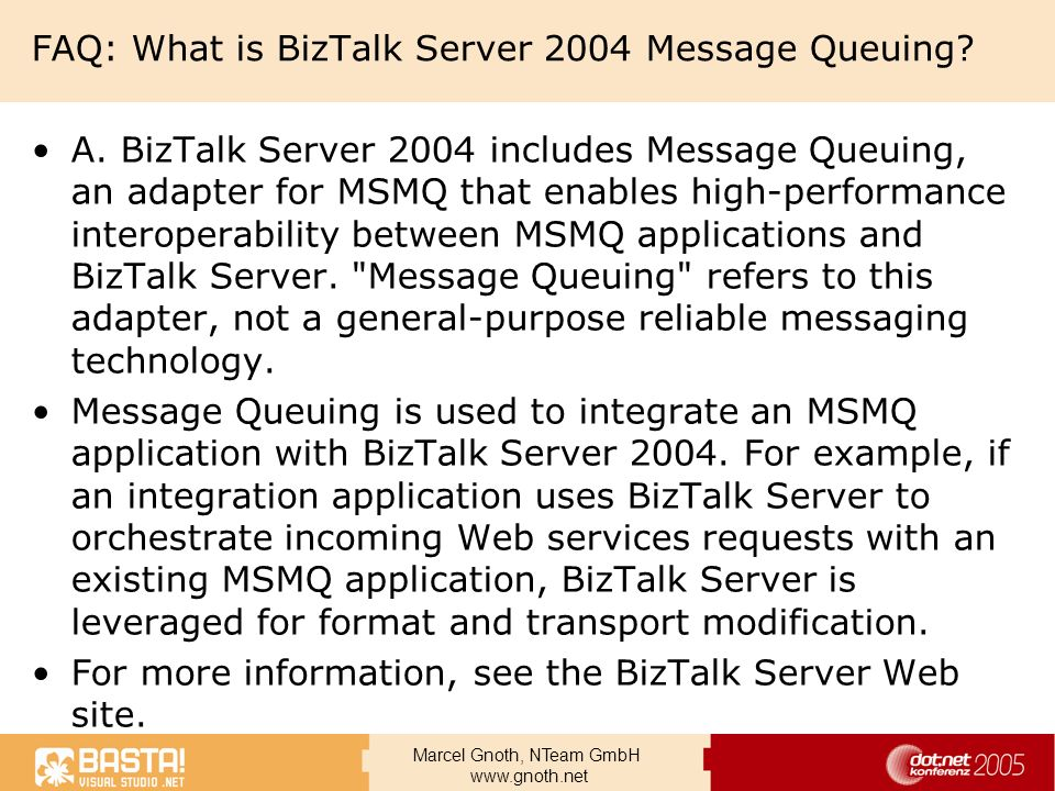 FAQ: What is BizTalk Server 2004 Message Queuing