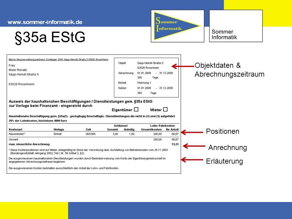 §35a EStG Objektdaten & Abrechnungszeitraum Positionen Anrechnung