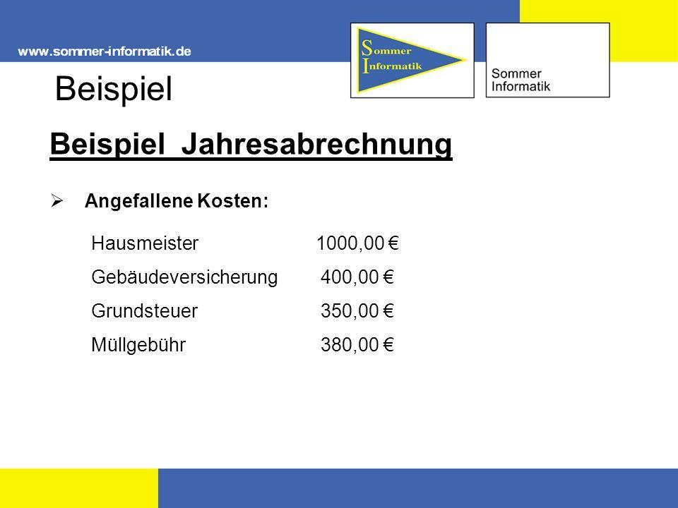 Beispiel Beispiel Jahresabrechnung Angefallene Kosten: