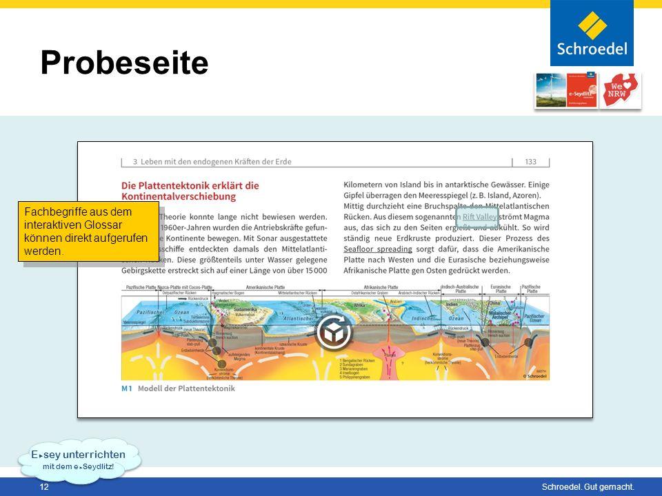 Probeseite Fachbegriffe aus dem interaktiven Glossar können direkt aufgerufen werden. Esey unterrichten.