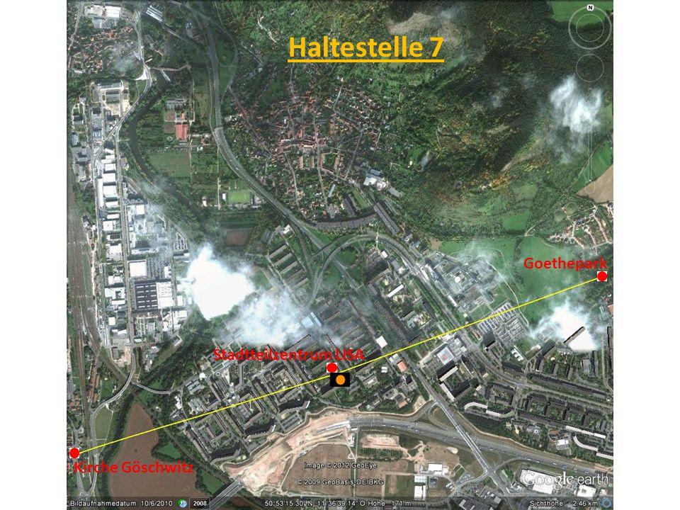Haltestelle 7 Goethepark Stadtteilzentrum LISA Kirche Göschwitz