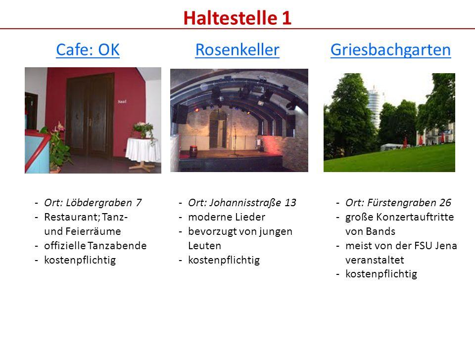 Haltestelle 1 Cafe: OK Rosenkeller Griesbachgarten Ort: Löbdergraben 7