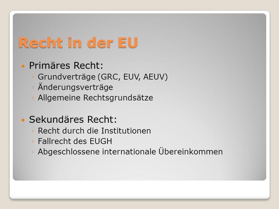 Recht in der EU Primäres Recht: Sekundäres Recht: