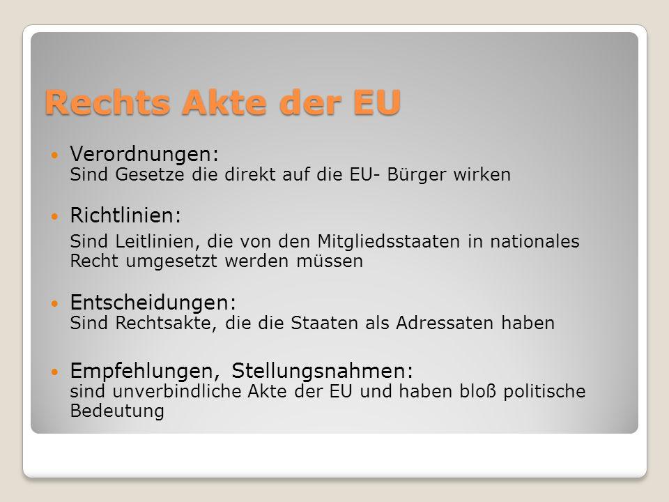 Rechts Akte der EU Verordnungen: Sind Gesetze die direkt auf die EU- Bürger wirken. Richtlinien: