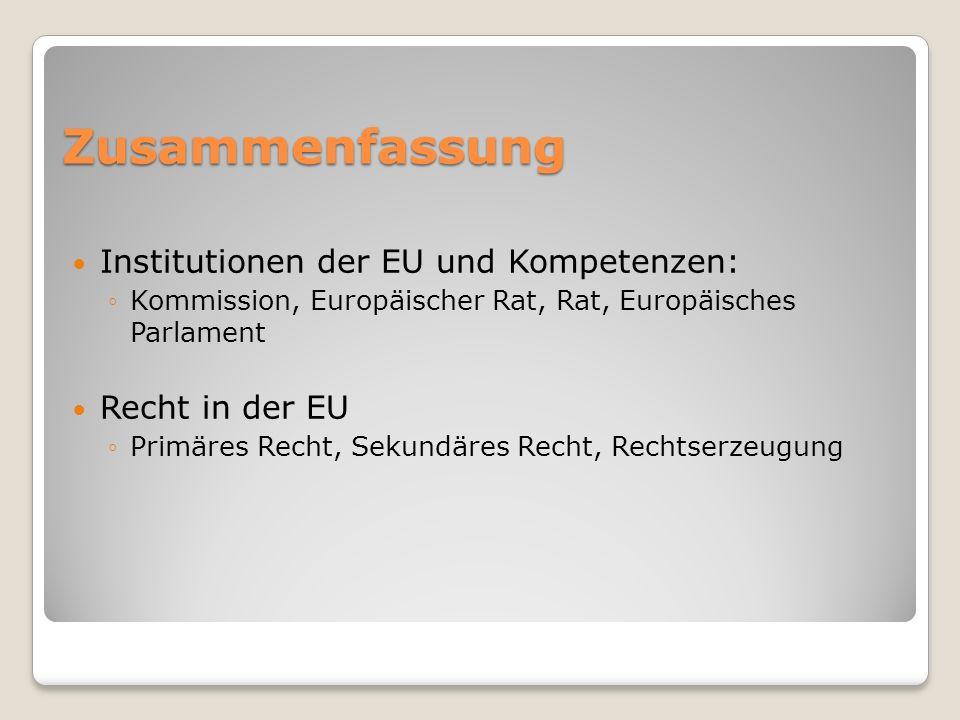 Zusammenfassung Institutionen der EU und Kompetenzen: Recht in der EU