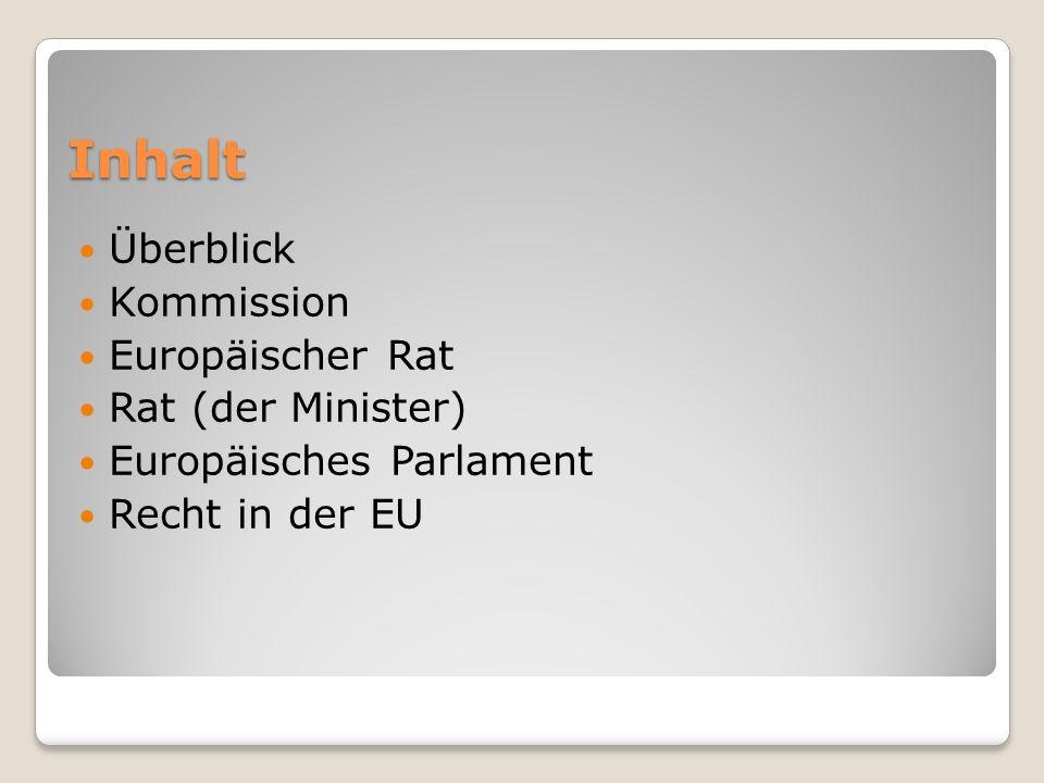 Inhalt Überblick Kommission Europäischer Rat Rat (der Minister)