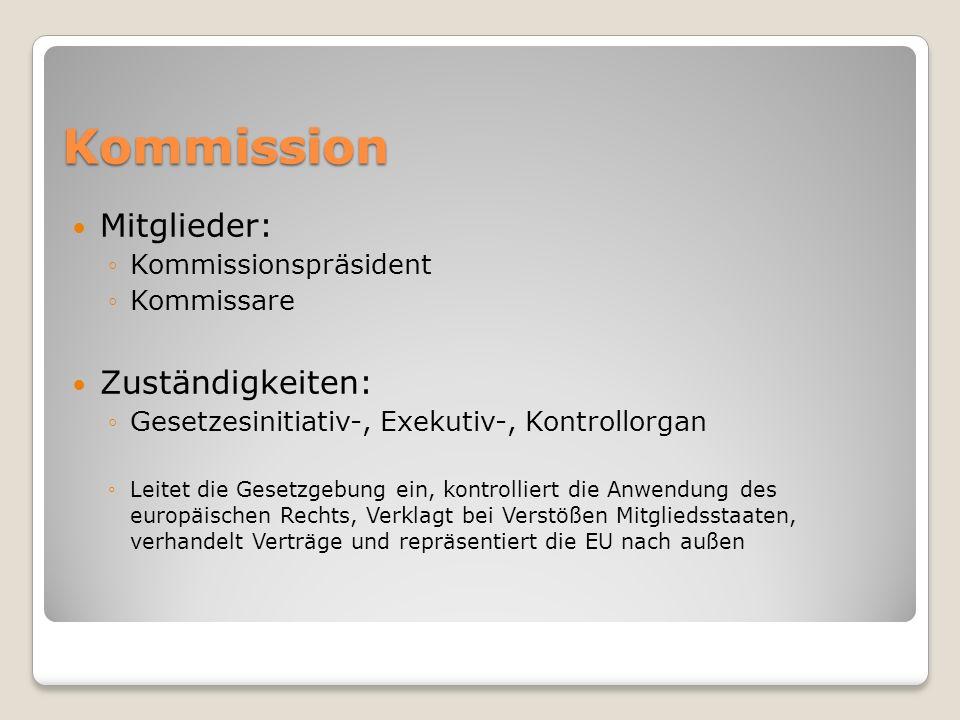 Kommission Mitglieder: Zuständigkeiten: Kommissionspräsident