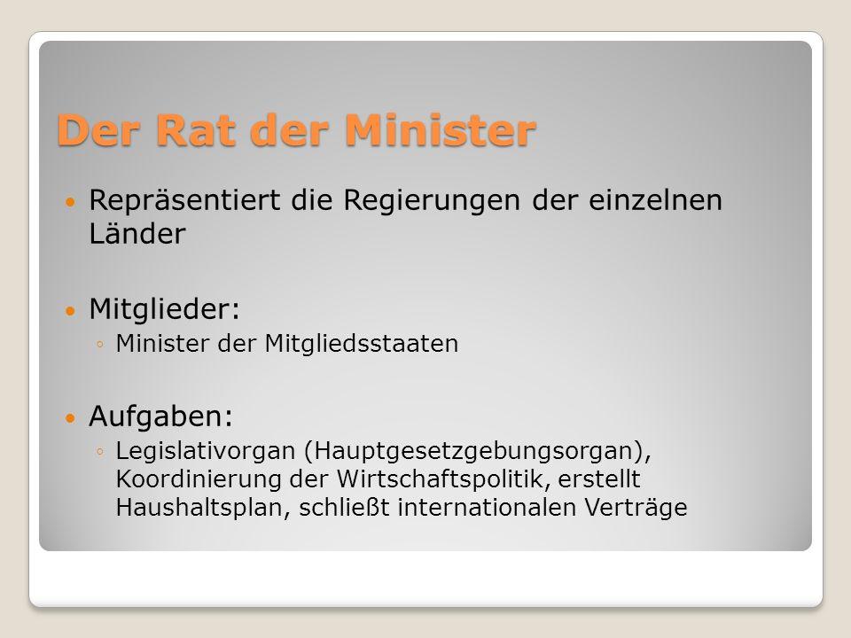 Der Rat der Minister Repräsentiert die Regierungen der einzelnen Länder. Mitglieder: Minister der Mitgliedsstaaten.