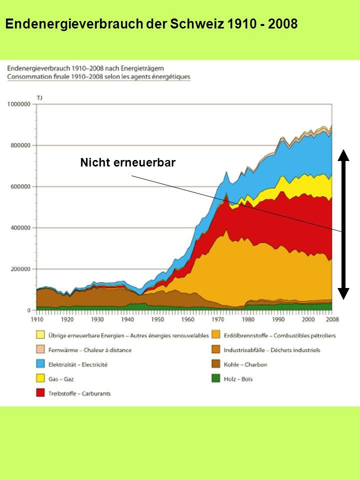 Endenergieverbrauch der Schweiz 1910 - 2008