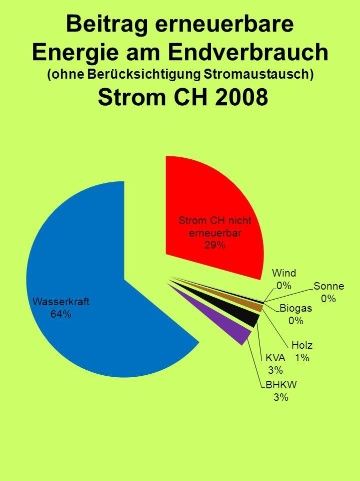 Beitrag erneuerbare Energie am Endverbrauch (ohne Berücksichtigung Stromaustausch) Strom CH 2008