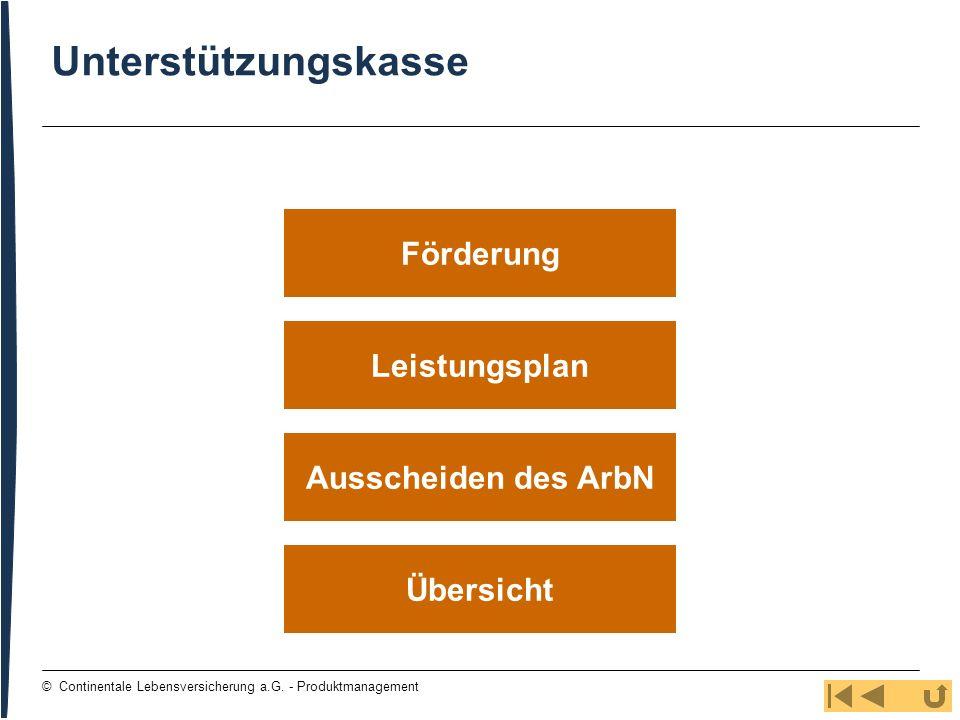 Unterstützungskasse Förderung Leistungsplan Ausscheiden des ArbN