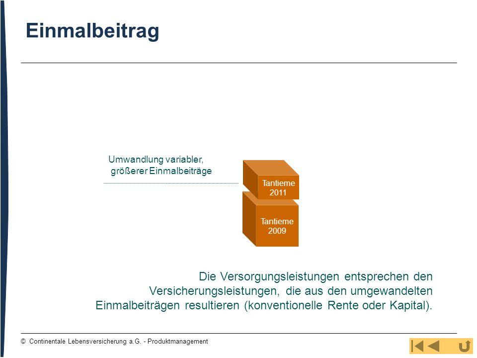 Einmalbeitrag Umwandlung variabler, größerer Einmalbeiträge. Tantieme. 2011. Tantieme. 2009.