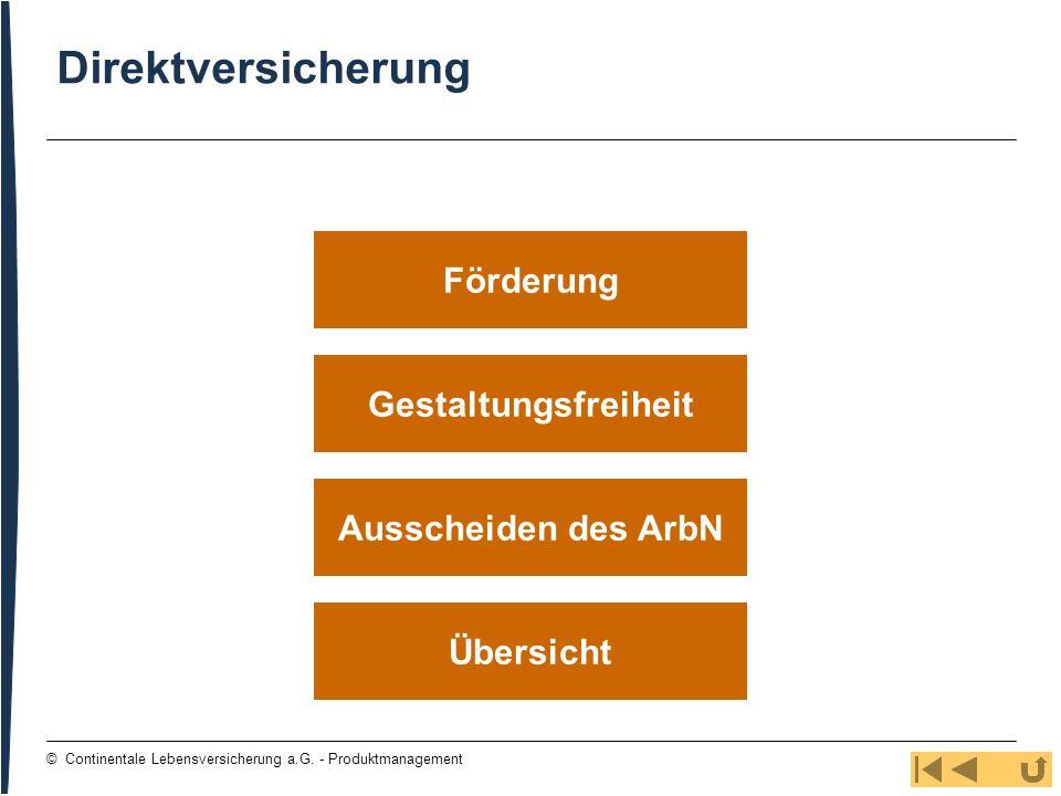 Direktversicherung Förderung Gestaltungsfreiheit Ausscheiden des ArbN