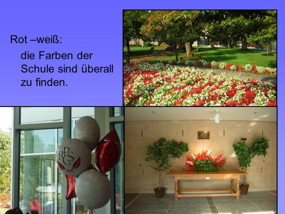 Rot –weiß: die Farben der Schule sind überall zu finden.