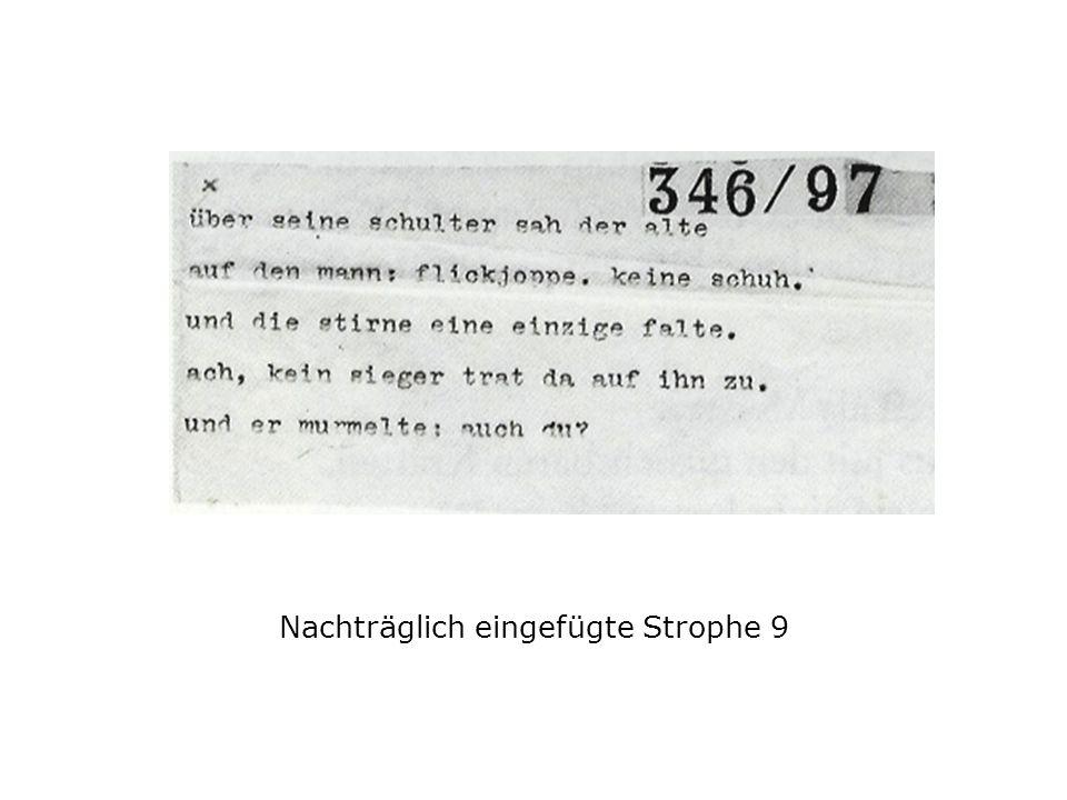 Nachträglich eingefügte Strophe 9
