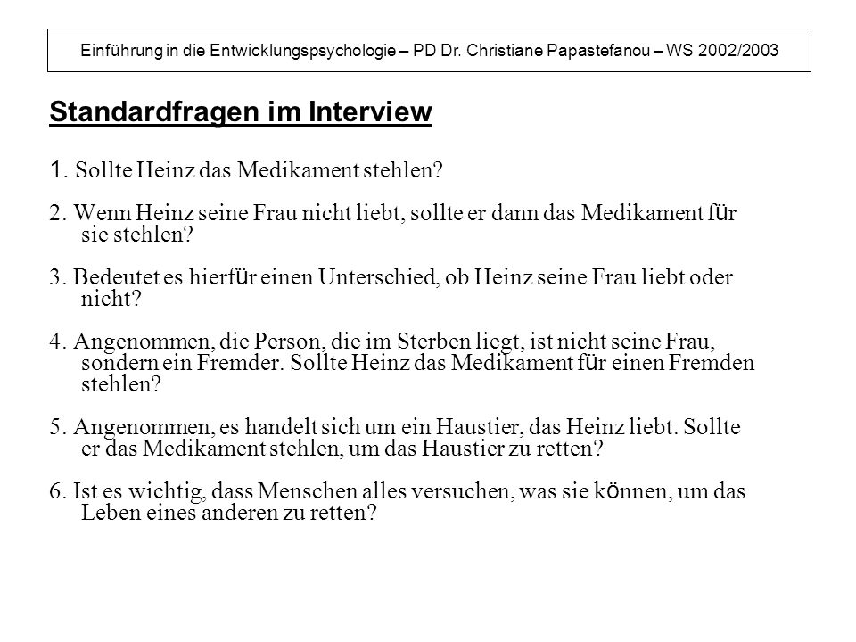 Standardfragen im Interview