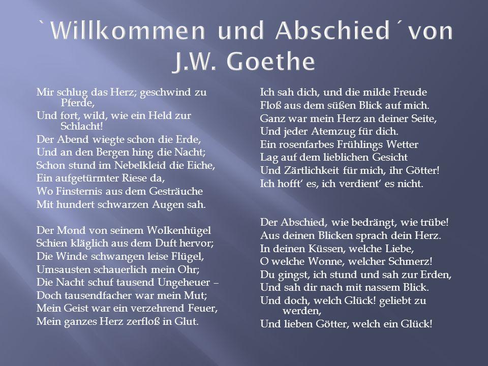 `Willkommen und Abschied´von J.W. Goethe
