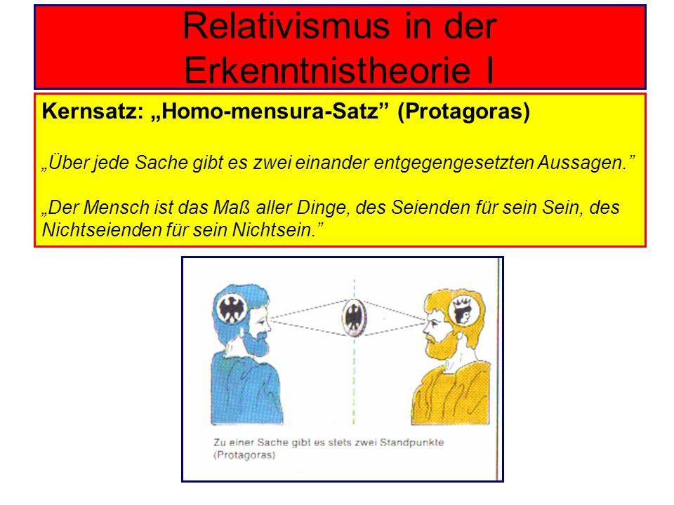 Relativismus in der Erkenntnistheorie I