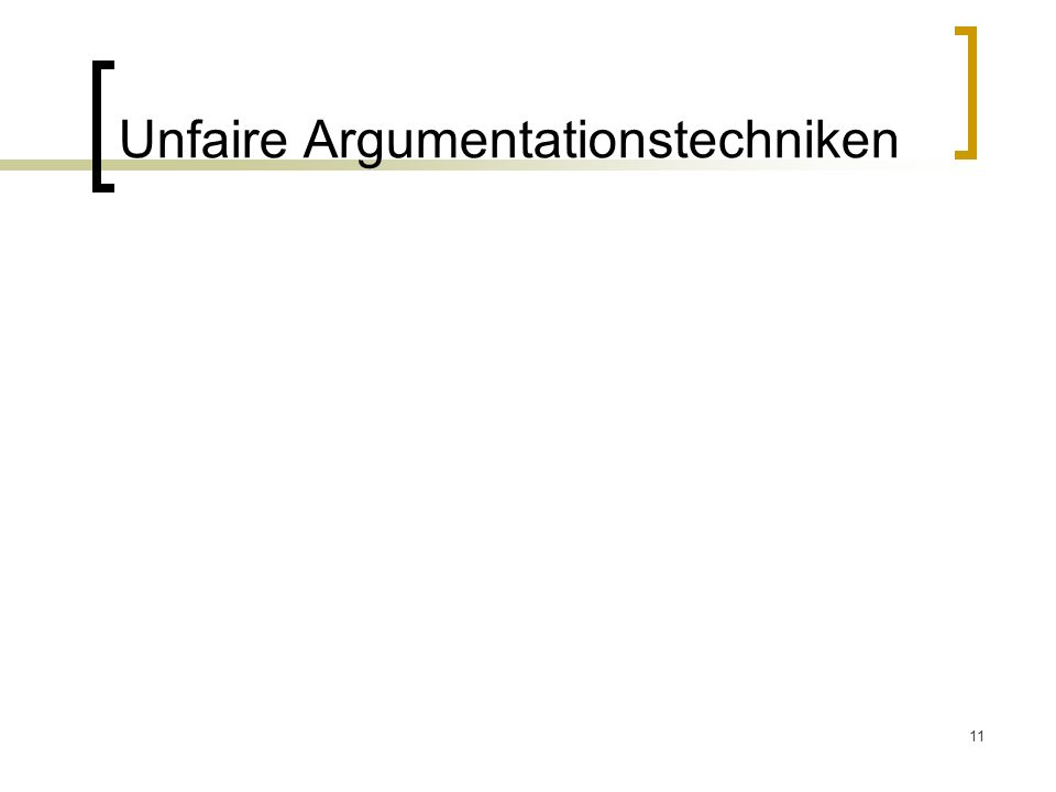 Unfaire Argumentationstechniken