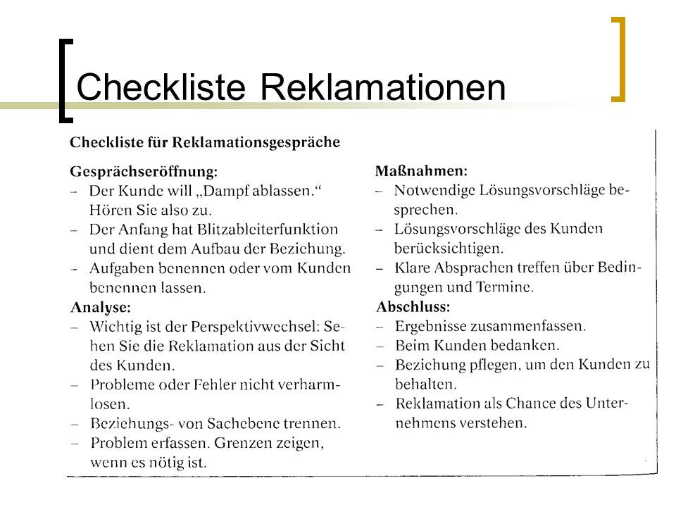 Checkliste Reklamationen