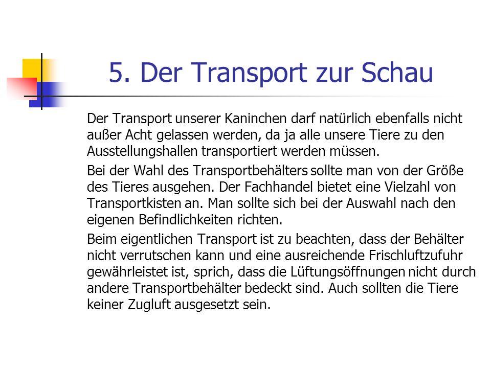 5. Der Transport zur Schau