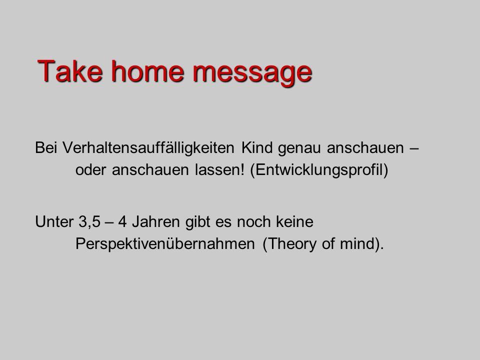 Take home message Bei Verhaltensauffälligkeiten Kind genau anschauen – oder anschauen lassen! (Entwicklungsprofil)