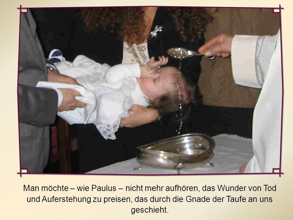 Man möchte – wie Paulus – nicht mehr aufhören, das Wunder von Tod und Auferstehung zu preisen, das durch die Gnade der Taufe an uns geschieht.