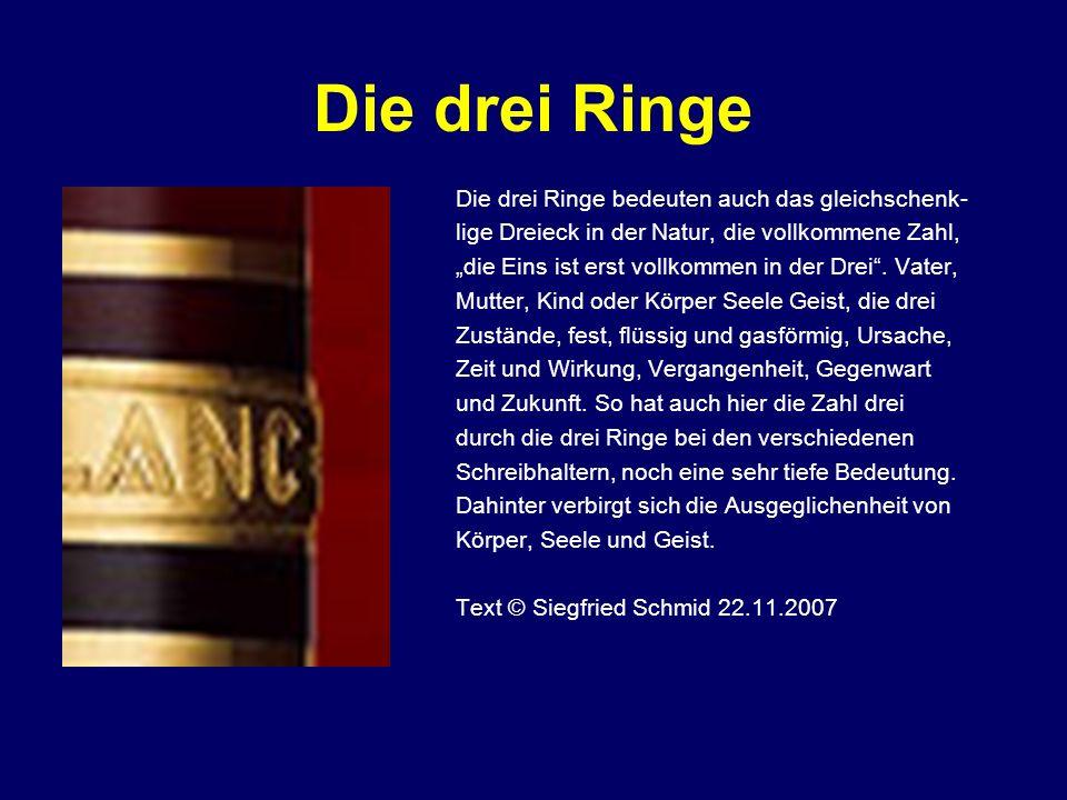 Die drei Ringe Die drei Ringe bedeuten auch das gleichschenk-