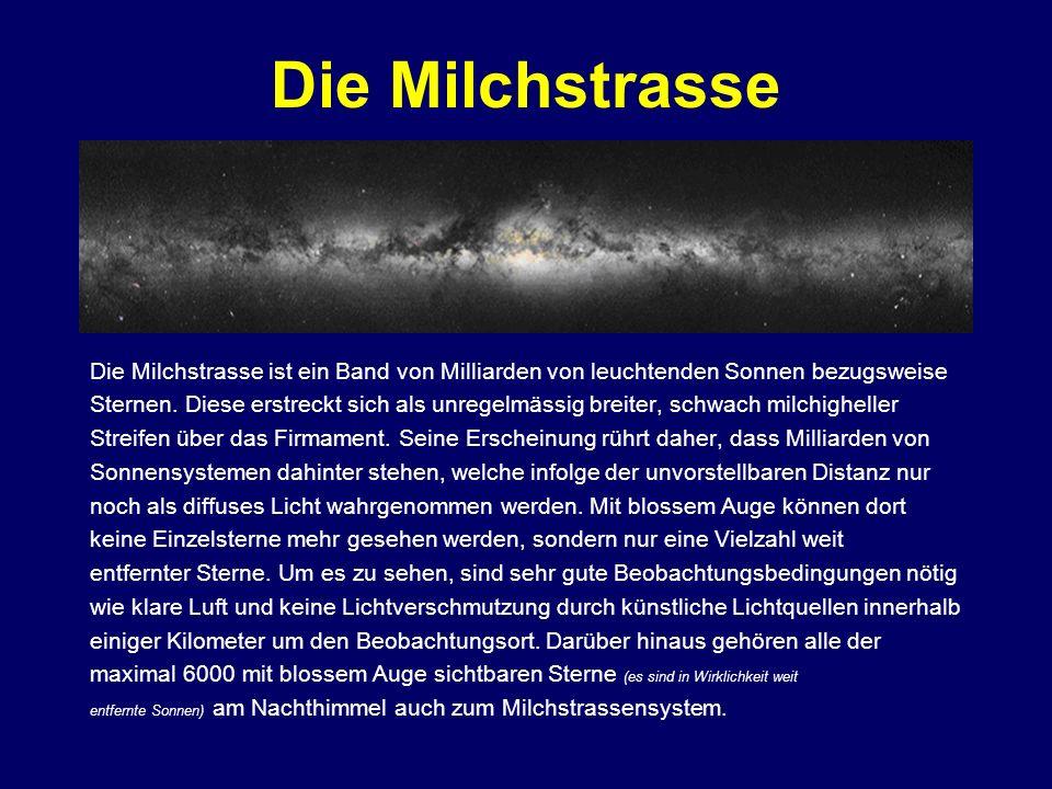 Die Milchstrasse Die Milchstrasse ist ein Band von Milliarden von leuchtenden Sonnen bezugsweise.