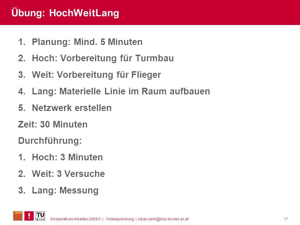 Übung: HochWeitLang Planung: Mind. 5 Minuten