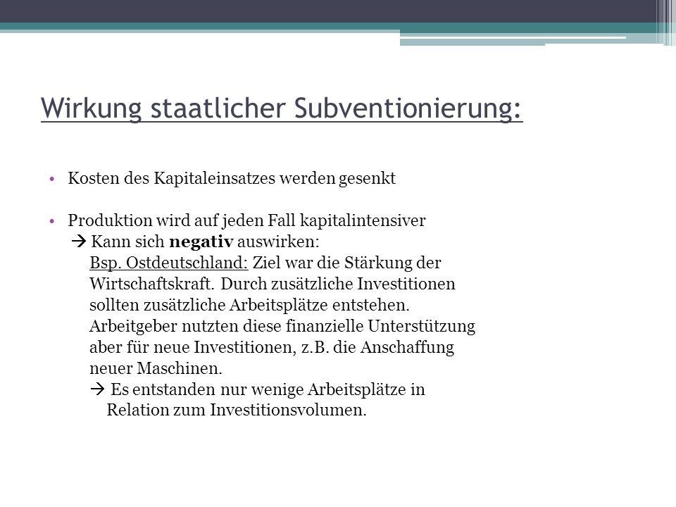 Wirkung staatlicher Subventionierung: