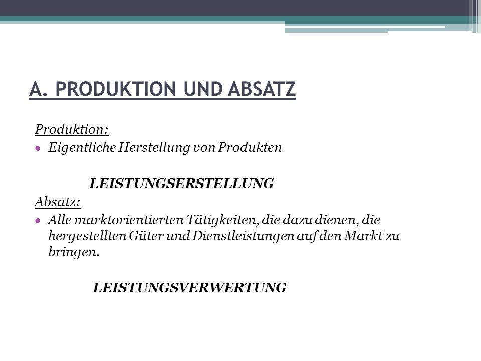 A. PRODUKTION UND ABSATZ