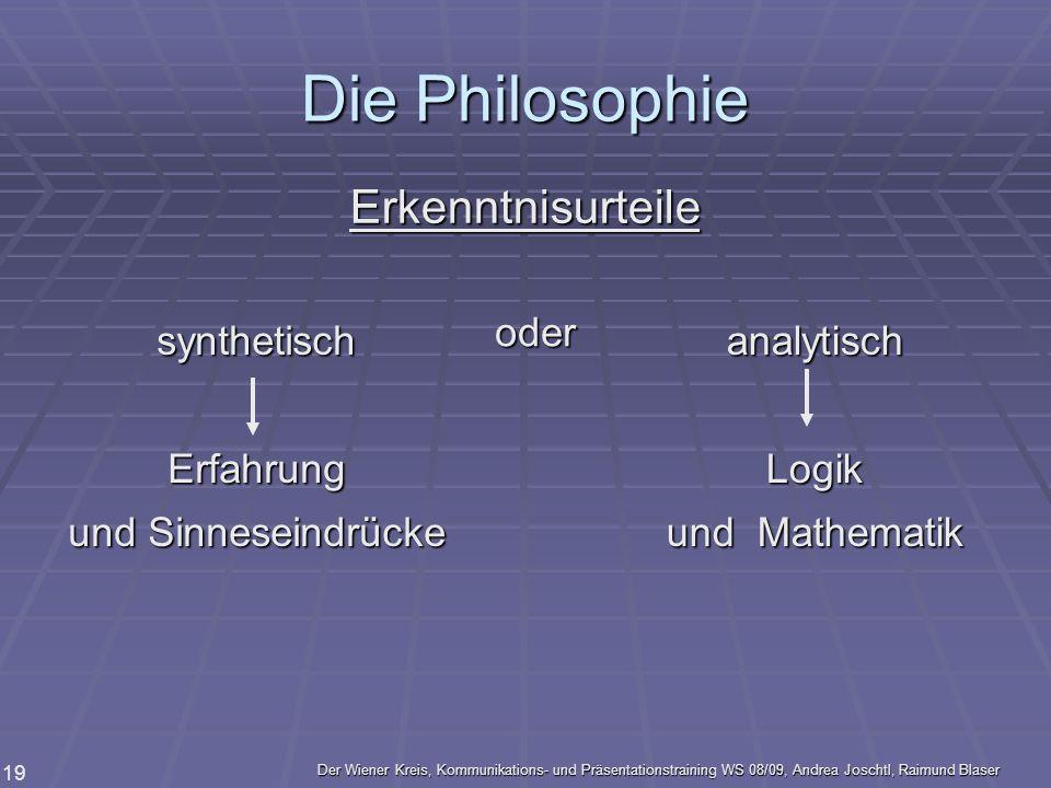 Die Philosophie Erkenntnisurteile oder synthetisch Erfahrung