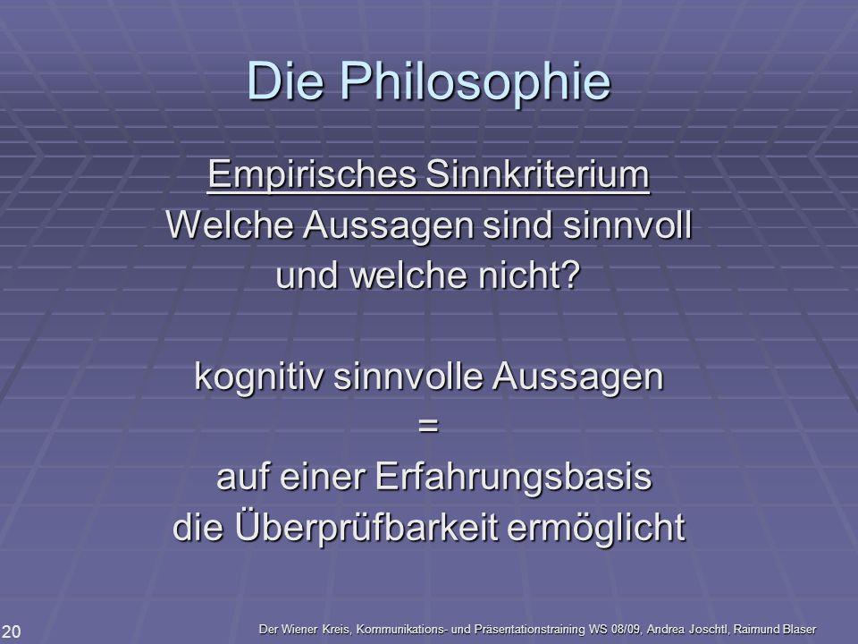 Die Philosophie Empirisches Sinnkriterium