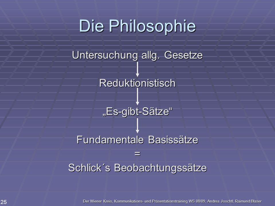Die Philosophie Untersuchung allg. Gesetze Reduktionistisch