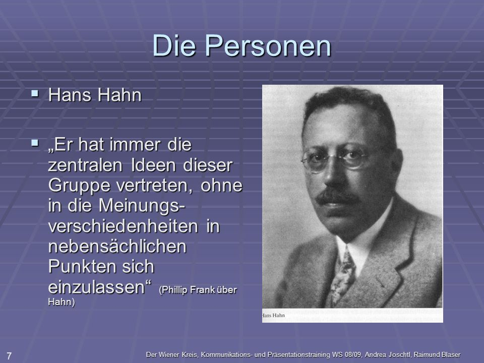 Die Personen Hans Hahn.