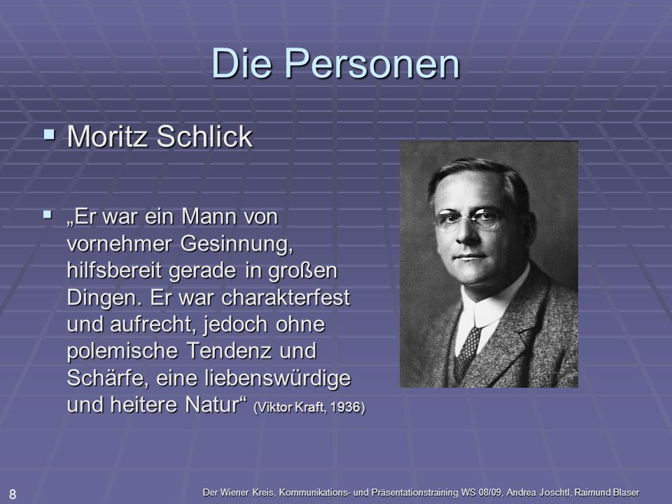 Die Personen Moritz Schlick