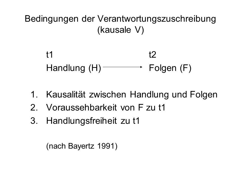 Bedingungen der Verantwortungszuschreibung (kausale V)