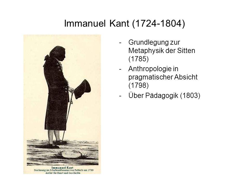 Immanuel Kant (1724-1804) Grundlegung zur Metaphysik der Sitten (1785)