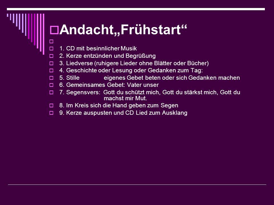 """Andacht""""Frühstart 1. CD mit besinnlicher Musik"""